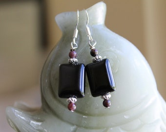 Black Rectangle Onyx with Red Agate Earrings, sterling silver hook