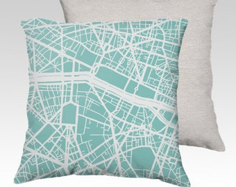 Paris Map Pillow Cover