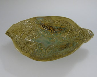 Stoneware Sculpted Bowl, Eagle, dragonfly, geometric