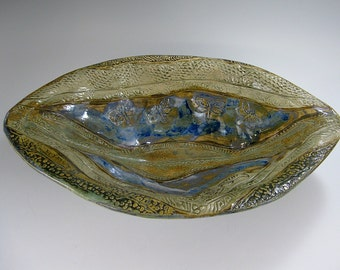 Stoneware Sculpted Bowl, Geometric, Eagles, large oval bowl