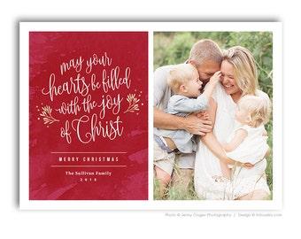 Christian Religious Christmas Photo Card Template For Photographers - JOY OF CHRIST - 1595