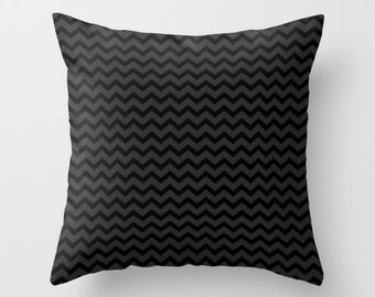 Black and Gray Chevron Pillow Cover - Cover Only - Modern Chevron Art -  Sofa Pillow Cover - Throw Pillow - Made to Order