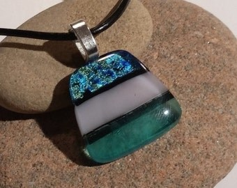 Aqua Silver Fused Dichroic Glass Pendant  - FG-040