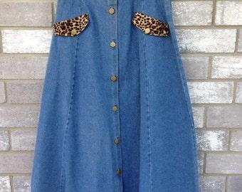90s denim fuzzy leopard pocket maxi skirt