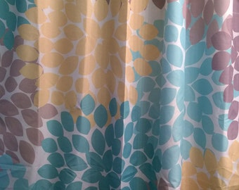 shower curtain in yellow blue gray floral by