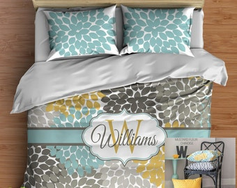 Custom Floral Bedding in Comforter or Duvet! Your one of a kind Bed Set Personalized with Your Name in Popular Yellow, Aqua Blue and Gray