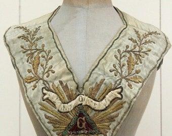 Antique Ceremonial Church Sash Gold Thread Jeweled Embroidery European Origin 1800s SUPBERB Silk Beaded WOW!