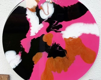 Original abstract painting round canvas art pink black copper