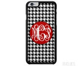 iPhone 6s, 6s Plus, iPhone 5, iPhone SE, Samsung Galaxy S7, S6, S6 Edge Phone Case, Black Houndstooth and Red, Monogram Christmas Gift (269)