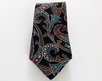 SALE Wynwood Collection Black Turquoise Brown Red Cream Paisley Floral Print Silk Necktie Classic Business Wear Great Gift Idea