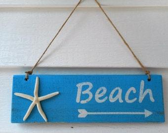 Distressed wooden beach sign / beach decor / nautical decor
