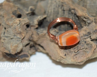 Carnelian copper wire wrap ring, various sizes available