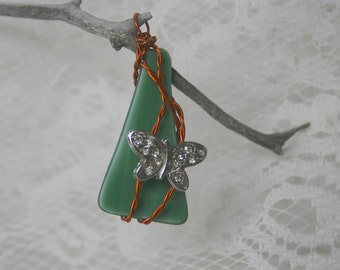 Green Glass Twisted Copper Wire & A Rhinestone Butterfly Necklace Charm