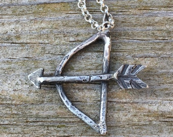 Bow and Arrow necklace. Sterling Silver