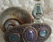 Amethyst & Flourite Bead Embroidery Barrette