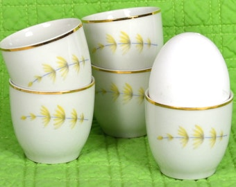 Vintage Porcelain Egg Cups, 5 White Bohemian China Egg Servers, Candle Holders, Pale Yellow Spring Flowers, Czechoslovakia, Easter Decor