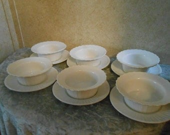 1940's Set of 6 Custard Dishes & Saucers