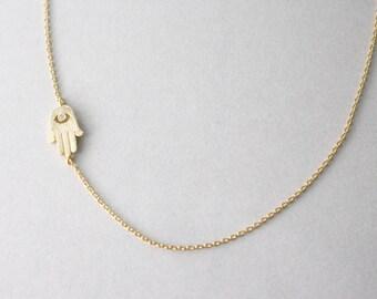 Sideways hamsa necklace - Gold necklace hamsa, hamsa necklace