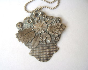 new sterling flower basket pendant necklace