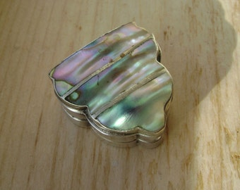 vintage sterling and abalone mexican pill box