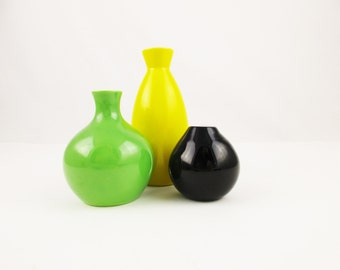 Mini Vase Collection - Black Cased White Glass - Green Ceramic Bulbous - Bright Yellow Saki-style - White Inside - Group Together