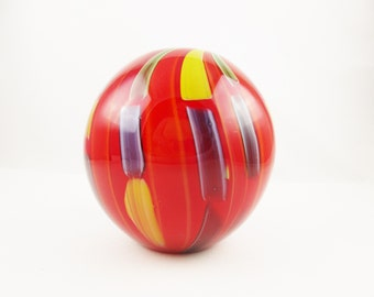Large Red Glass Vase - Black Cased - Dashes of Green, Yellow and Blue Floating in Glass - 1970s Style Glass Vase - Heavy