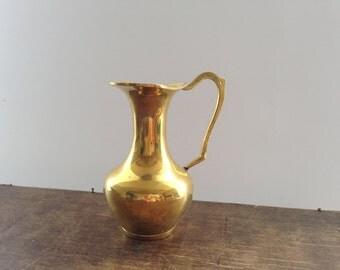 Vintage brass vase Brass pitcher Decorative Brass pitcher Brass vase