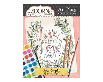Frameable Adult Coloring Book - Journal Cards - Watercolor Paper - Live Simply - Art Play - AdornIt - 533234