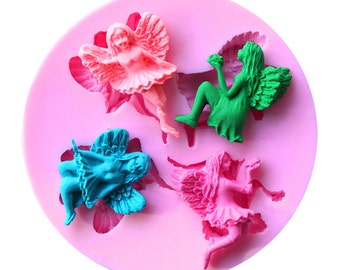 Silicone Mold FAIRIES - Ideal for fondant, clay, cold porcelain and more.