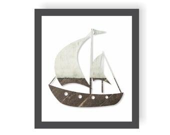 Nautical Ship Art, Coastal Nursery, Sailboat Art, nautical Living room, Sailing Art Rustic Nautical Nursery, Beach Bathroom, Beach House Art