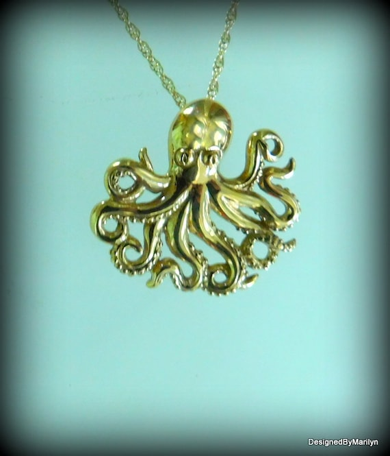 Natural bronze octopus  with 14/20 gold filled chain, ocean theme jewelry,  octopus jewelry, unique pendant