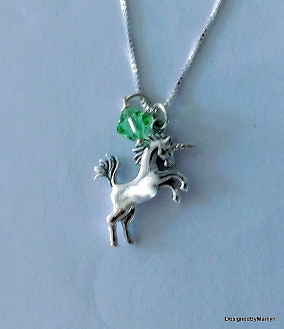 Sterling silver unicorn necklace,  personalized jewelry, mythical jewelry, birthstone necklace