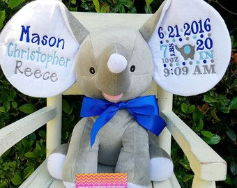 Personalized Elephant Birth Announcement Elephant Baby Gift Personlaized Baby Gift Embroidered Elephant Plush Elephant Stuffed Elephant