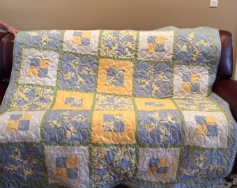 """Pinwheel Yellow and Blue Floral Cotton Fabric Pieced Quilt, large Lap Size, 66"""" Square"""