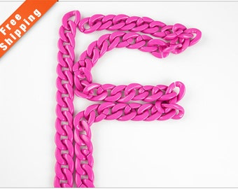 Free Shipping - Hot Pink Acrylic Chain, Plastic Open Link Chain, 23x18mm, Pkg of 1m(1.1 yards.), N08D.PI57.L1M