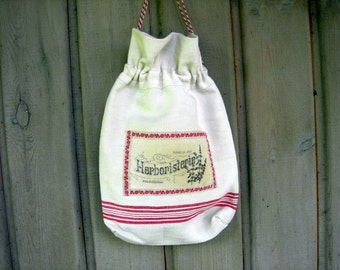 Herb Storage Bag for Dried Herbs Linen Drawstring French Touch to your KItchen Antique Organic Linen Eco Friendly