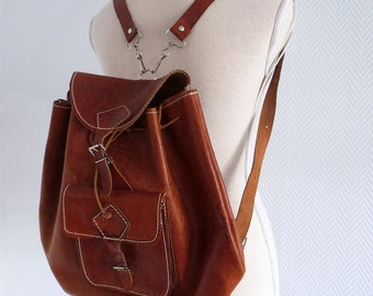 Leather rucksack 70's