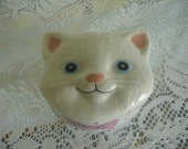 Vintage Ceramic Kitty Jewelry Trinket Box White Cat Face w/ Pink Bow Made in Japa
