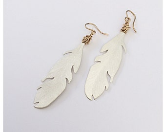 Argentium Silver and Gold Boho Feather Earrings - Free Shipping included for Gifts for Her