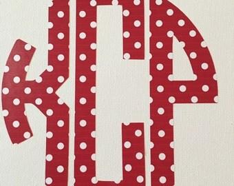 Polka dot vinyl initials