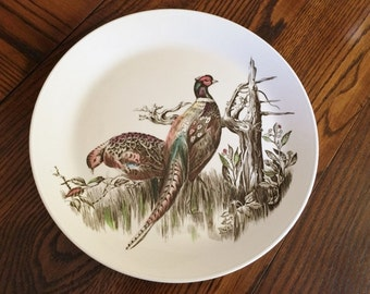 GAME BIRDS PHEASANT Luncheon Salad Plate - Johnson Brothers England - Multi-Color Ironstone China