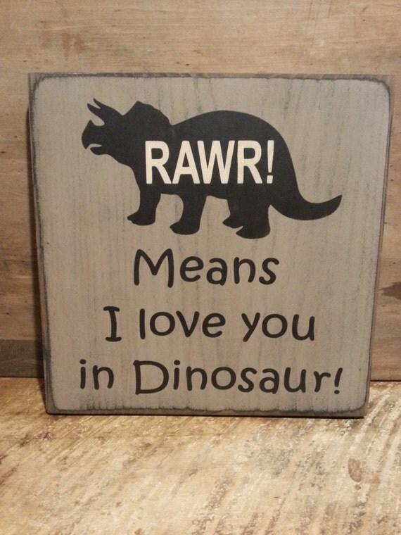 Dinosaur wood sign kids room sign boys room decor rawr for Signs for kids rooms