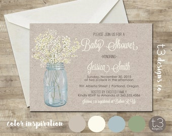 country baby shower invitation rustic baby shower invite mason jar invite printed invitations