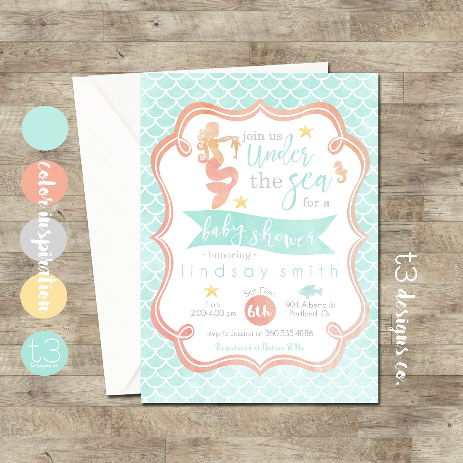 Mermaid Baby Shower Invitations • Mermaid Invitation • Baby Shower