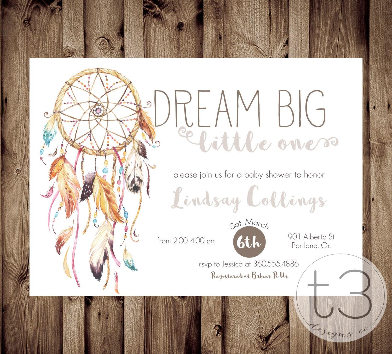 Dreamcathcer Baby Shower Invitation Boho Invite