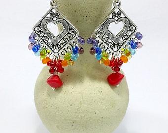 Colorful Earrings, Rainbow Earrings Czech Glass Confetti Drops chandelier Multicolor Jewelry