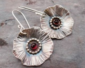 Red Poppy Earrings // sterling flowers with garnet cabochon centers // modern nature inspired jewelry // metalsmith earrings (3568)