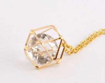 Caged Diamond Cubic Zirconia Pendant Necklace