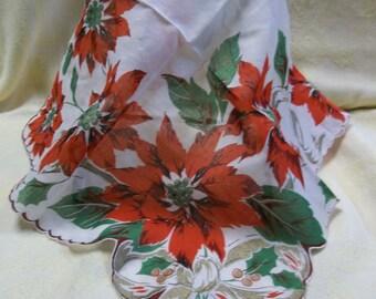 Vintage Christmas Hanky, Handkerchief, Poinsettia, S