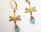 RESERVED FOR ISABEL Handmade dragon fly drop earrings, wedding jewelry